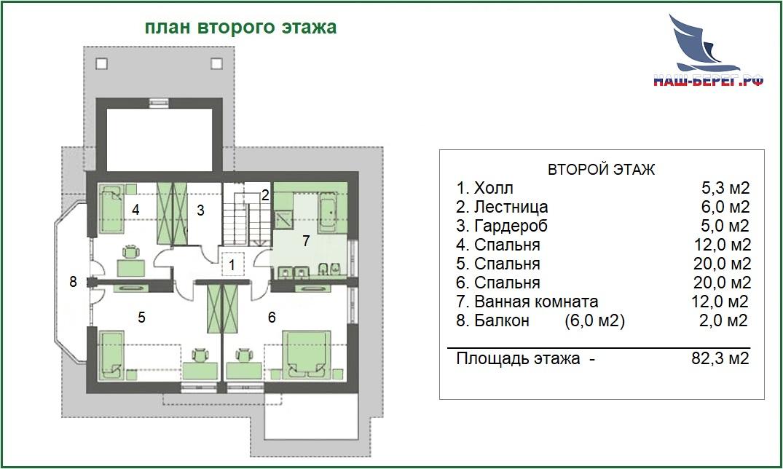 """План этажа. Проект дома """"МИРАБЕЛЬ"""""""