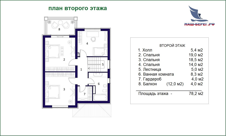 """План этажа. Проект дома """"ЛАЗУРНЫЙ БЛЮЗ"""""""