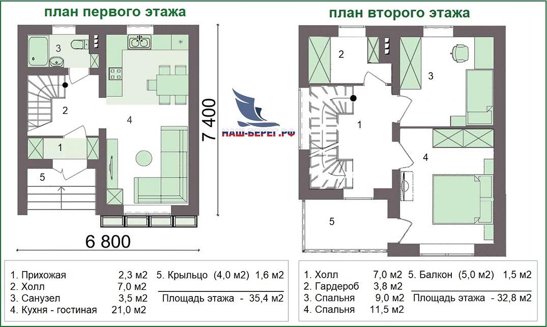 """Планы этажей. Проект дома """"АЛЬБАТРОС -1"""""""