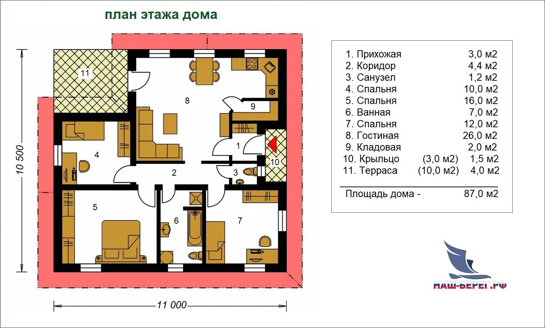 "План этажа дома. Проект дома ""АНГАРА - 3"""