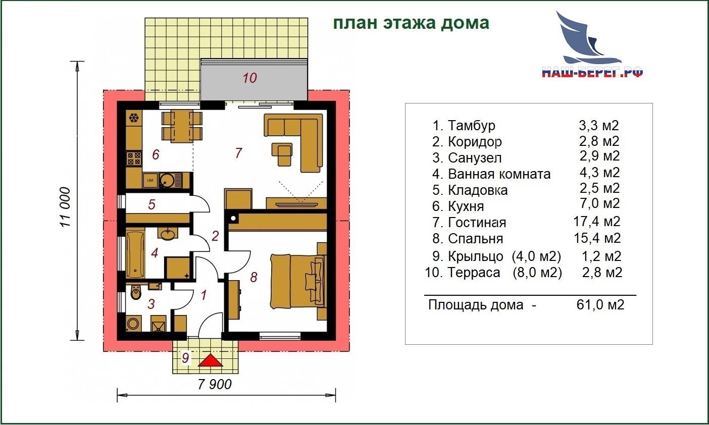 """План дома. Проект дома """"ПОЛЕСЬЕ - 2"""""""