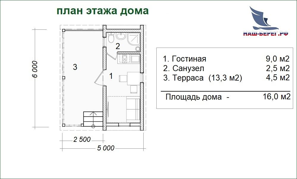 """План этажа дома. Проект дома """"ГОСТЕВОЙ - 3"""""""