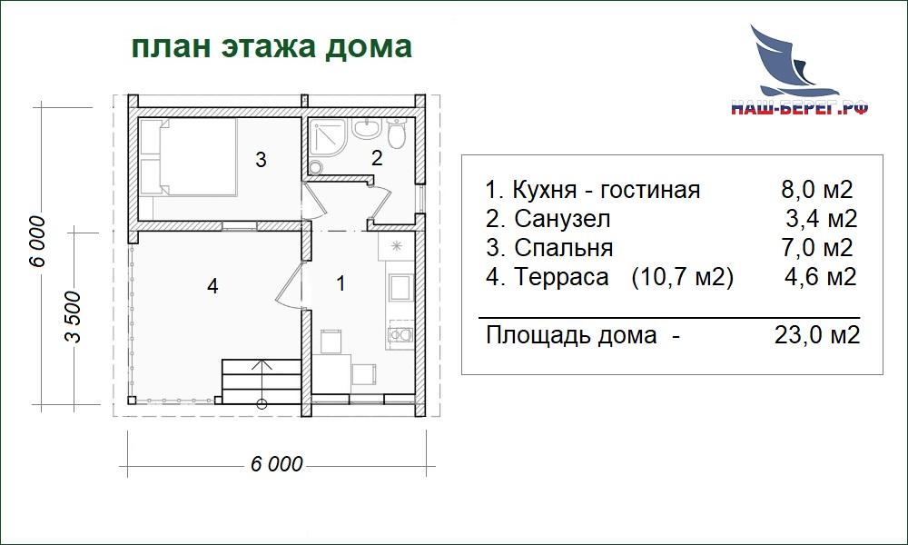 """План этажа. Проект дома """"ГОСТЕВОЙ - 4"""""""