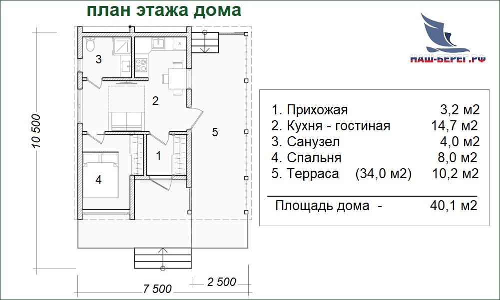 """План этажа. Проект дома """"ГОСТЕВОЙ - 5"""""""