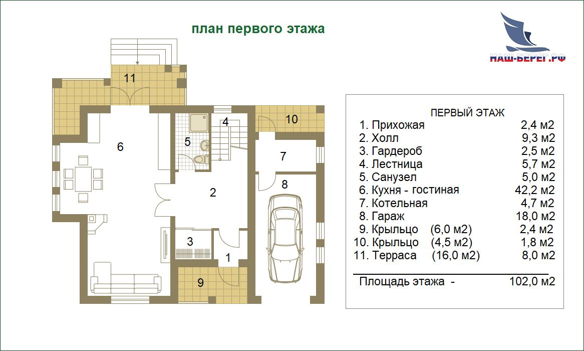 """План первого этажа. Проект дома """"ИЗМАЙЛОВСКИЙ -1"""""""