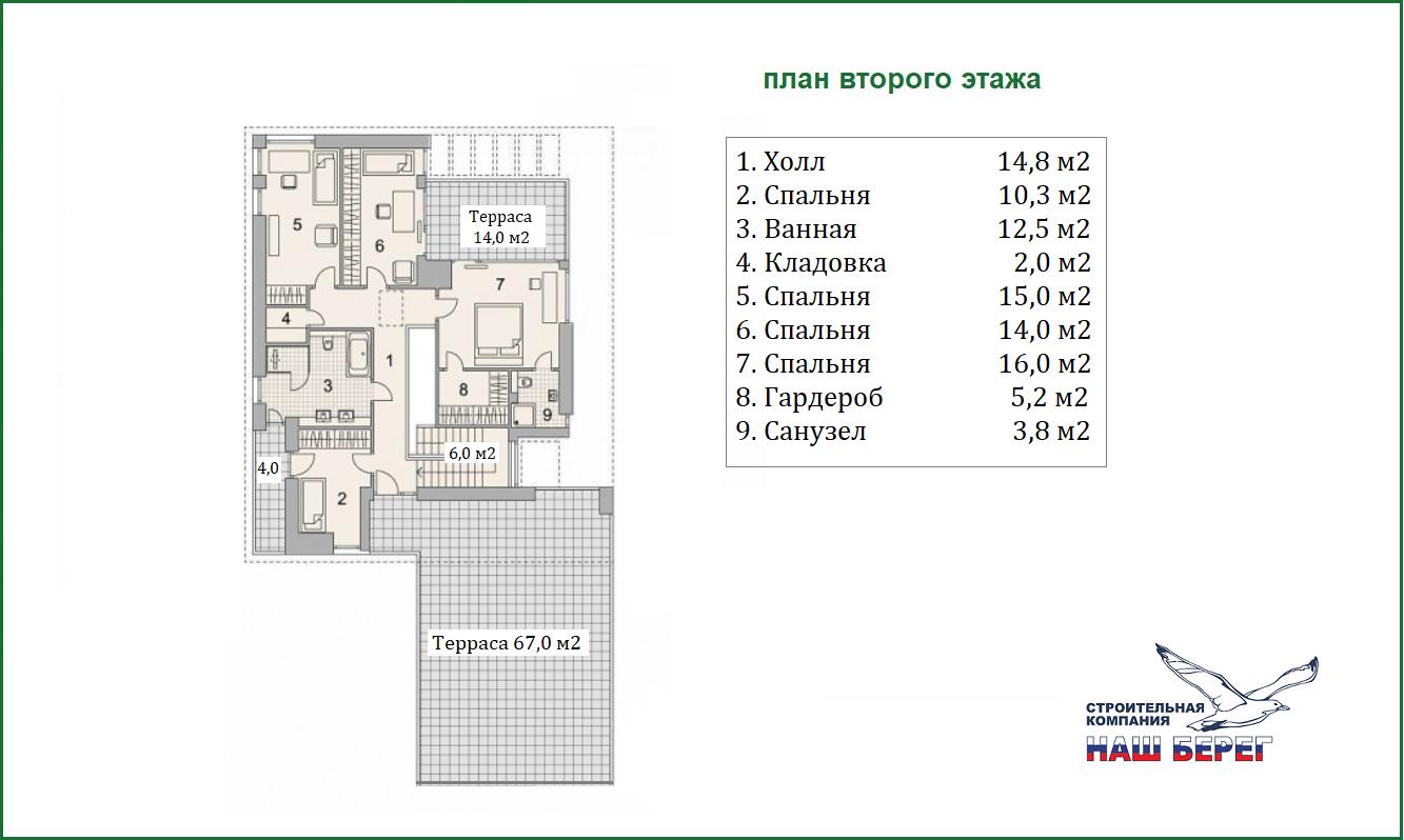 """План этажа. Проект дома """"ИЗУМРУД"""""""