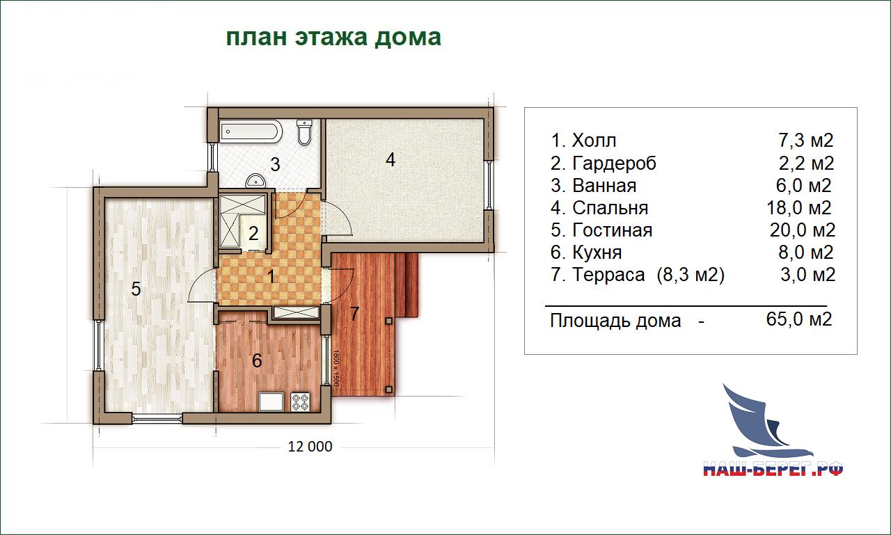 "План этажа. Проект дома ""КОРАЛЛ-2"""