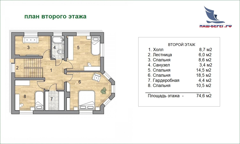 """План этажа. Проект дома """"КОРВЕТ"""""""
