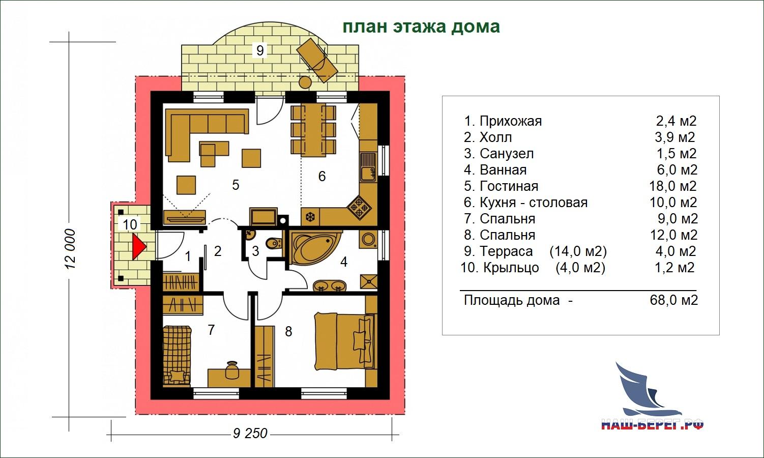"План этажа. Проект ""ЛАДОГА - 1"