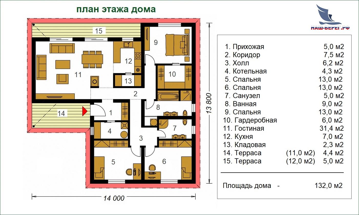 "План этажа. Проект дома ""ЛАВАНДА - 2"""