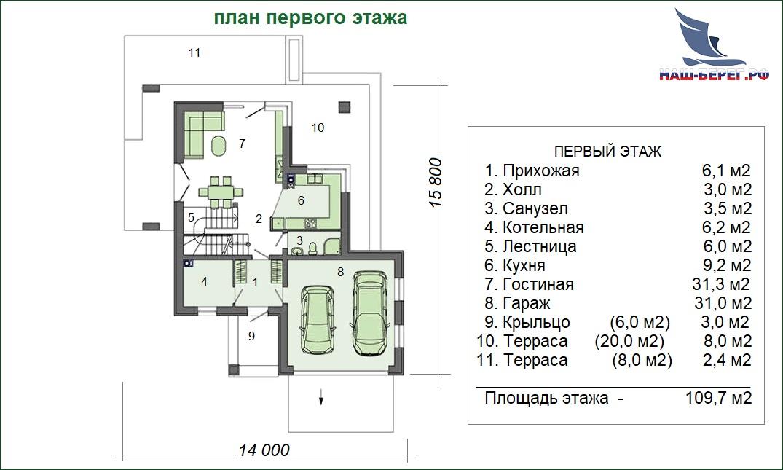 "План этажа. Проект дома ""ЛИОН"""