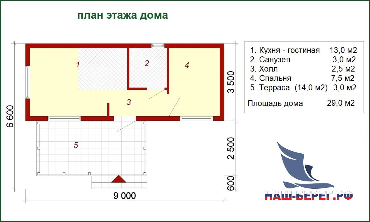 """План этажа дома. Проект дома """"ГОСТЕВОЙ - 2"""""""
