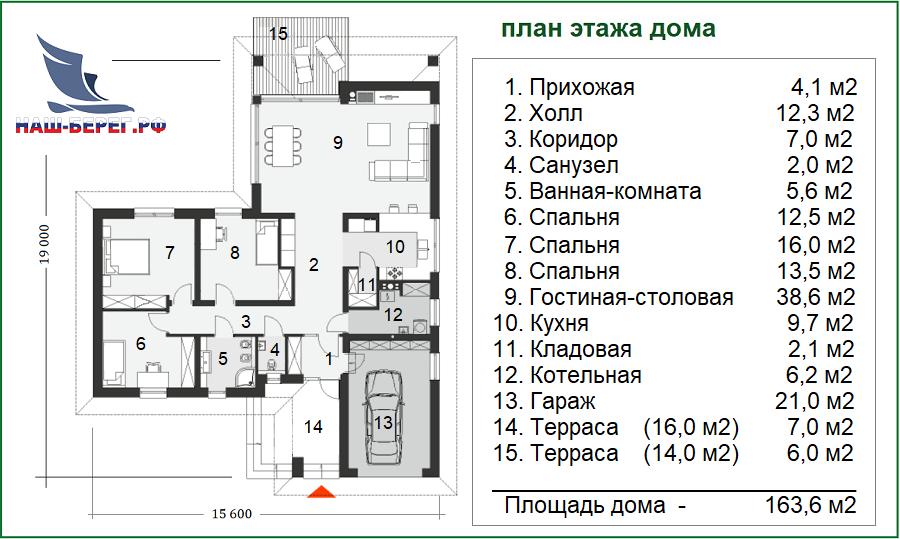 "План этажа. Проект дома ""КОКТЕБЕЛЬ"""
