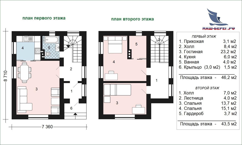 "План этажей. Проект дома ""ОРФЕЙ"""