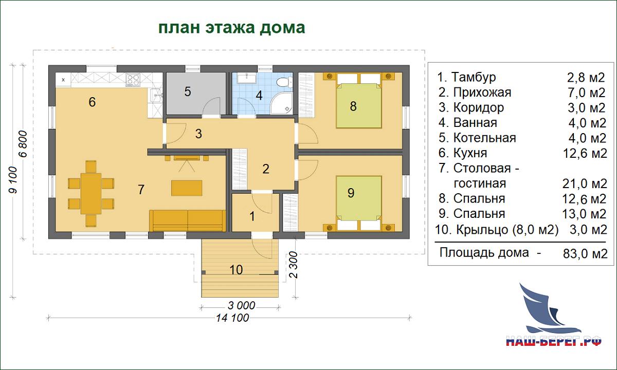 """План этажа. Проект дома """"ПОЛЕСЬЕ-3"""""""
