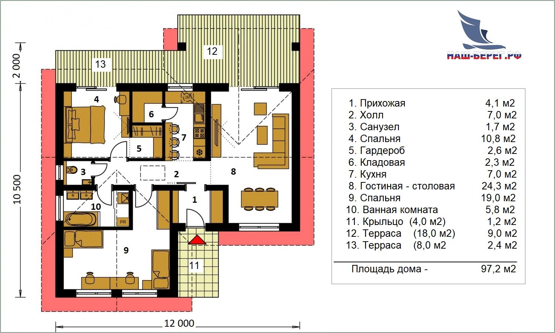 """План этажа. Проект дома """"ПРИБОЙ - 1"""""""