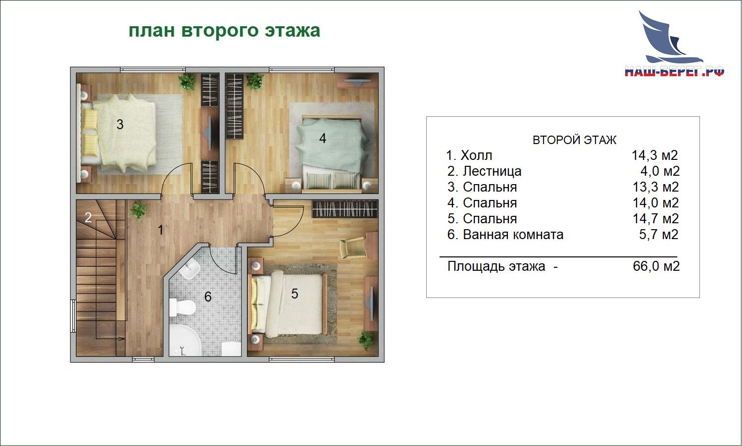 """План второго этажа. Проект дома """"РАДОНЕЖ-1"""""""