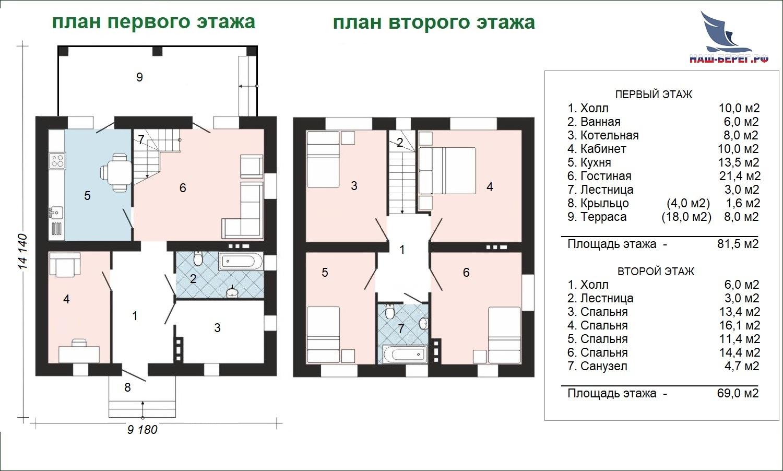 "Проект дома ""ТАРУСА"" Планы этажей"