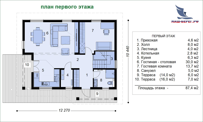 """План первого этажа. Проект дома """"ВИТЯЗЕВО"""""""