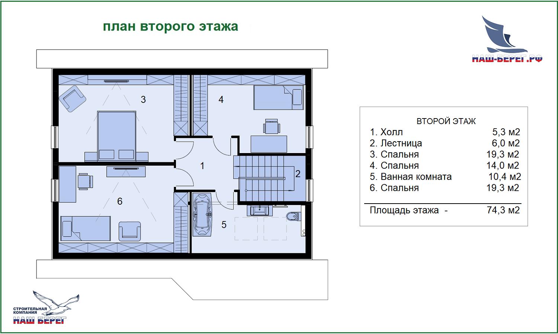 """План второго этажа. Проект дома """"ВИТЯЗЕВО"""""""