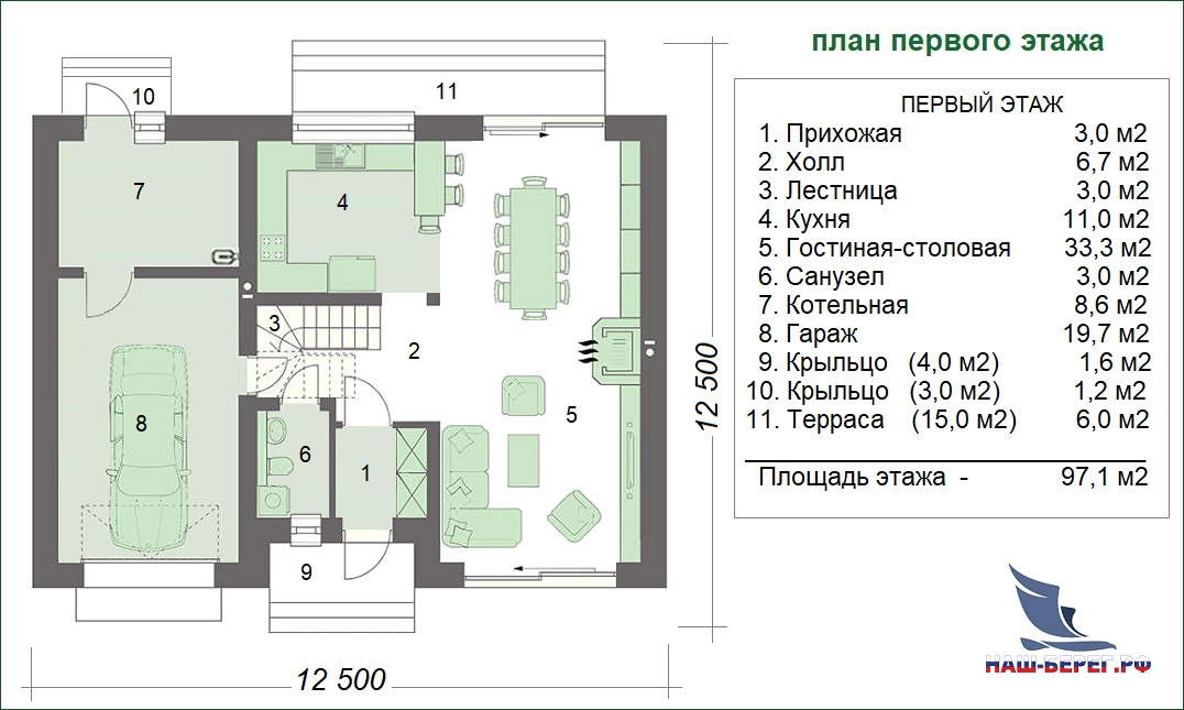 "План этажа. Проект дома ""ВОСХОД"""