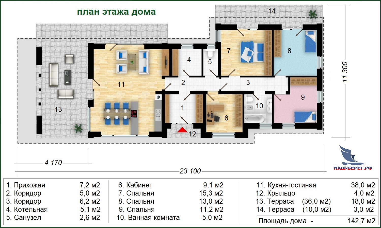 """План этажа. Проект дома """"ЖЕМЧУЖИНА"""""""